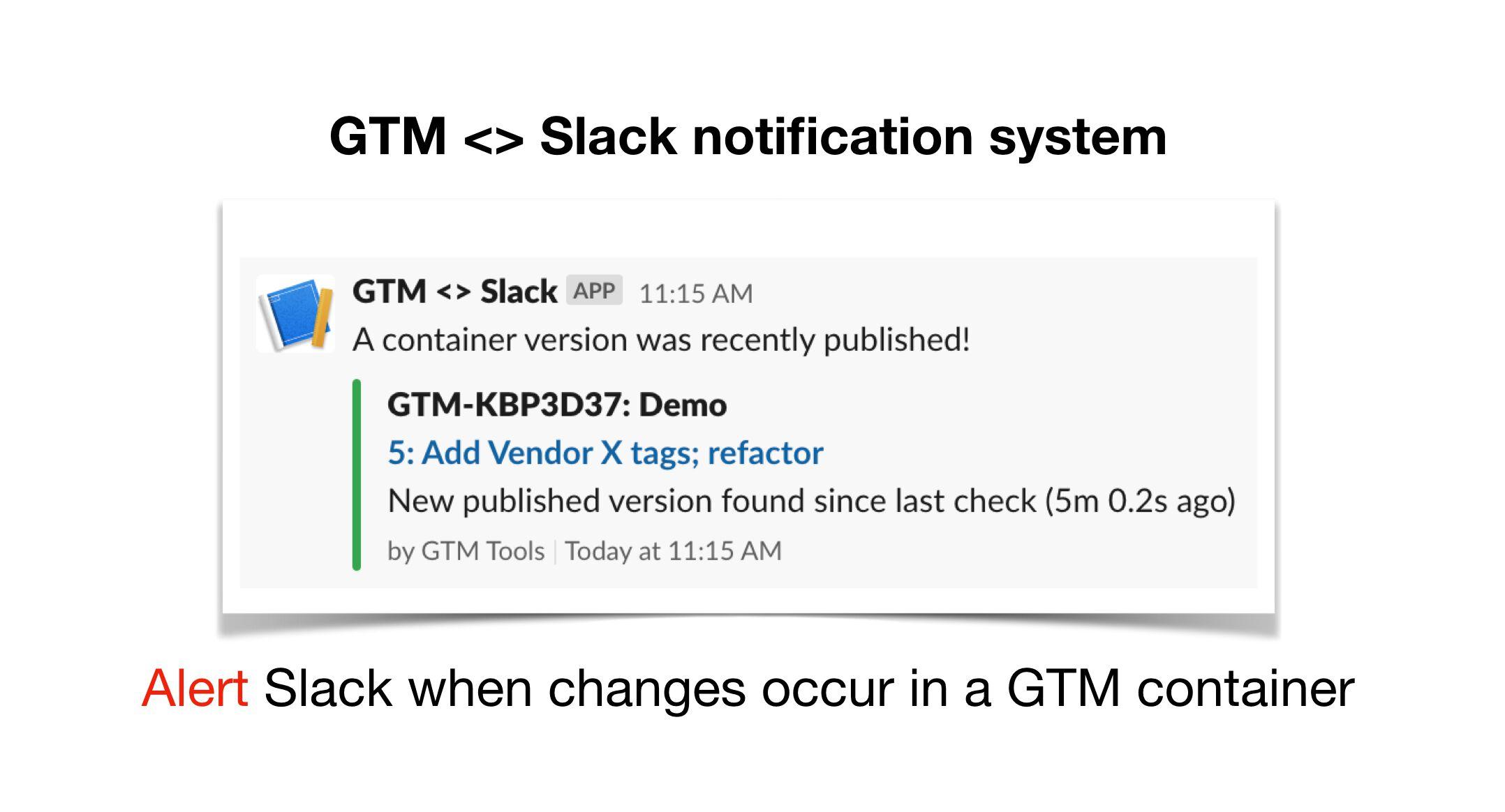 Image de d'implantation de code GTM dans slack